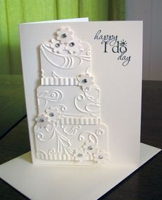 wedding card, beautiful cake! cuttlebug