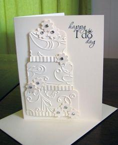 wedding card, beautiful cake! cuttlebug
