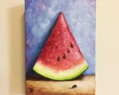 Tall Watermelon Slice, Ready to hang, Original Oil Painting still life by Jane Palmer
