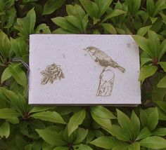 Robin and Rose Design Handmade Recycled Paper Notebook, Natural Grey, Laser Engraved Cover by CherryfieldLane on Etsy