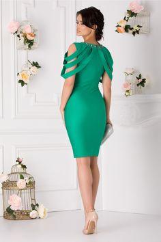 Rochie Eleganta Benzi Aplicate La Bust Aplicatii Metalice La Guler One Shoulder, Shoulder Dress, Dresses, Fashion, Vestidos, Moda, La Mode, Fasion, Dress