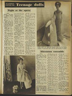 Issue: 24 Nov 1965 - The Australian Women's Wee. Crochet Barbie Patterns, Crochet Barbie Clothes, Doll Clothes Barbie, Doll Clothes Patterns, Doll Patterns, Clothing Patterns, Barbie Doll, Barbie Gowns, Barbie Dress