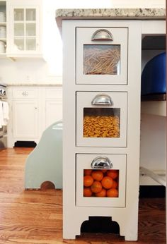 Candy / Snack Cabinet Drawers. Perfect for the little ones and easily changed out. Filled with yummy candies for the holidays and parties.