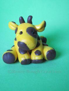 Polymer Clay Giraffe Baby Figure by: ReneeRoughCreations https://www.etsy.com/shop/ReneeRoughCreations