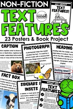 Non-Fiction Text Features Posters and Book Project -give your students visual reminders of text features! Each poster (23 in all) comes with a title of the text feature, description, and illustration.  This resource also includes a 23-page student book project in two different sizes for students. The perfect classroom resource to use year-round!