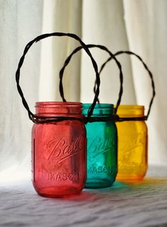 Rustic Mason Jar Lanterns With Wire Vine Handles - Set of 3 -  Deep Red, Deep Teal, Sunshine Yellow - Autumn, Fall Lighting, Decor