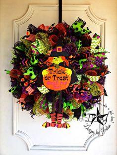 Deco Mesh Halloween Wreath by DesignsbyJordanTX on Etsy, $85.00