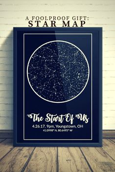 Custom Night Sky Star Print With Constellations - Modern Map Art
