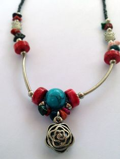 Artisan beaded necklace with colorful gemstones by spreadblessings, $21.95