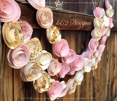Items similar to Paper Flower Garland blush garland gold Wedding Garland. Pink flowers paper flower garland rose quartz gold garland nursery decor baby girl on Etsy Rose Gold Paper, Pink Paper, Paper Roses, Paper Flower Garlands, Paper Flower Backdrop, Diy Garland, Garland Wedding, Garland Decoration, Garland Nursery