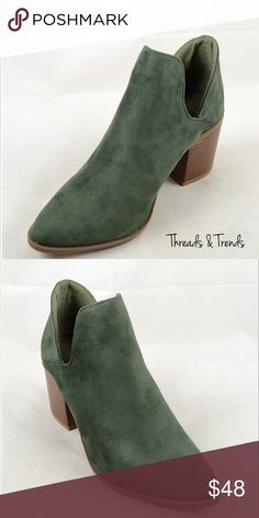 " Olive Side Slit Suede Booties Olive Suede side slit booties. Approx. 3"" stacked heel. Gorgeous olive  color to give your look a pop. Threads & Trends Shoes Ankle Boots & Booties"