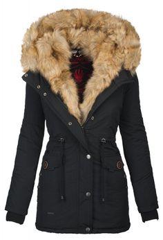Navahoo dames Parka winterjas met bontvoering zwart