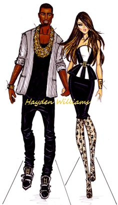 haydenwilliamsillustrations:    Kimye by Hayden Williams    Congratulations to Kim & Kanye on expecting their first child!!