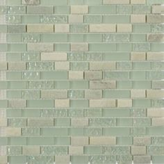 Very pretty accent for shower and bath.  ||  Shop For Seaspray Blend Brick Pattern 1/2 X 2 Marble & Glass Tiles at TileBar.com