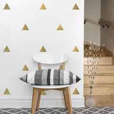 36 Large Triangle Vinyl Wall Decals Triangle Wall Stickers - 1 sheet $32.00 / metallic silver