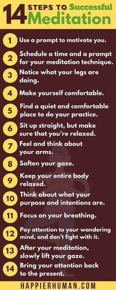 This infographic features 14 steps that are helpful to have a successful session of meditation. To get more ideas for mediation as a newbie, check out the full post that features many more great tips to help improve your meditation session.