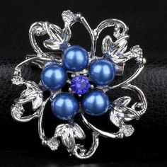 Glass Pearl Brooch, Zinc Alloy, Flower, platinum color plated, with glass pearl & with rhinestone, more colors for choice, nickel, lead & cadmium free, 34x34mm, 30PCs/Lot,china wholesale jewelry beads