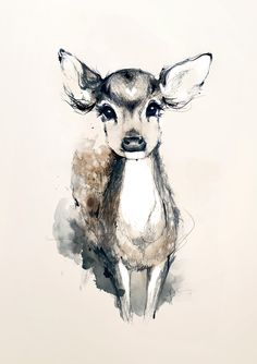 love the meaning behind getting a deer/bambi tattoo - a connection to my grandmother Art And Illustration, Illustrations, Anime Kawaii, Graphic, Painting & Drawing, Deer Drawing, Ocean Drawing, Amazing Art, Art Drawings