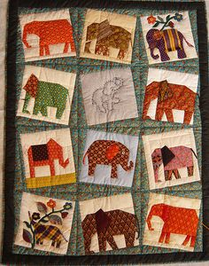 Elephant quilt might be pretty with my Thai fabrics that I never seem to get… Elephant Quilts Pattern, Quilt Patterns, Quilting Ideas, Asian Quilts, Quilted Wall Hangings, Applique Quilts, Baby Quilts, Quilt Blocks, Sewing Projects