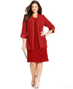 R&M Richards Plus Size Sleeveless Glitter Shift and Jacket - Plus Size Dresses - Plus Sizes - Macy's