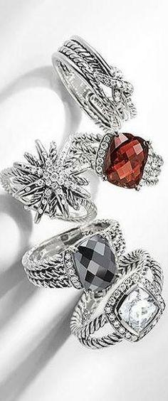 David Yurman - All of these rings are fantabulous! I Love Jewelry, Jewelry Box, Jewelery, Jewelry Watches, Jewelry Accessories, Fine Jewelry, David Yurman, Love Ring, Jewelry Companies