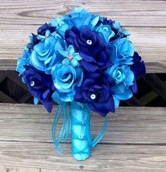 Silk Malibu Blue Royal Blue Wedding Bouquet