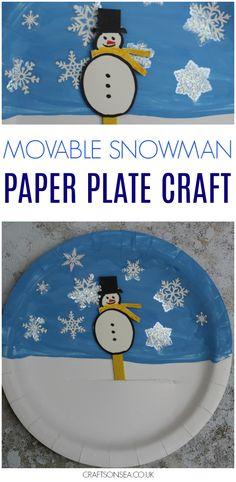 A snowman paper plate craft that the kids can play with! This movable snowman is a sweet puppet that they'll love to play with and a fantastic winter craft to enjoy. #wintercrafts #paperplatecrafts #kidscrafts #snowman #kidsactivities