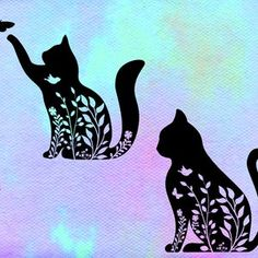 Metal Wall Art Decor, Cat Flowers, Flower Svg, Cat Silhouette, Valentines For Boys, Kirigami, Cat Memes, Cat Love, Sewing Ideas
