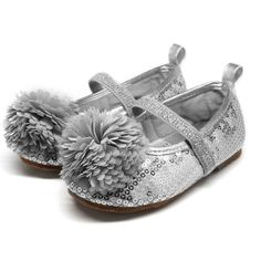 Stepping Stones Pom Pom Shoe in Silver