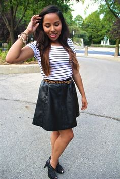 stripes and faux leather