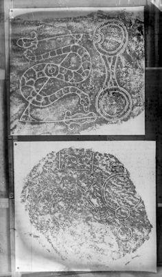 Photographic copy of two rubbings. The lower rubbing shows detail of the face of the Wolf Stone Pictish symbol stone, it originally stood at Newbigging Farm, Leslie, now stands in the garden of Leith . Celtic Dragon, Celtic Art, Islamic Art Calligraphy, Calligraphy Alphabet, Graffiti Alphabet, Viking Symbols, Celtic Tattoos, Picts, Zentangle Patterns