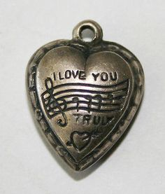 """VINTAGE STERLING  SILVER EXTRA PUFFY HEART CHARM - Repousse """"I Love You Truly"""""""