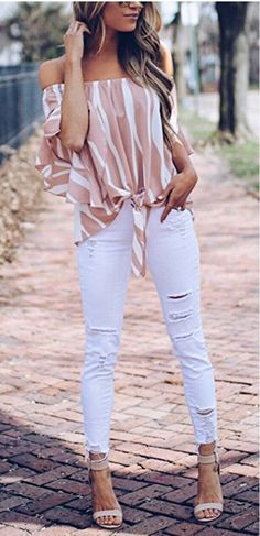 Asvivid Women's Striped Off Shoulder Bell Sleeve Shirt Tie Knot Casual Blouses Tops *** Details can be found by clicking on the image. (This is an affiliate link) Sexy Outfits, Casual Outfits, Cute Outfits, Fashion Outfits, Womens Fashion, Style Fashion, Casual Tie, Fashion Spring, Short Outfits