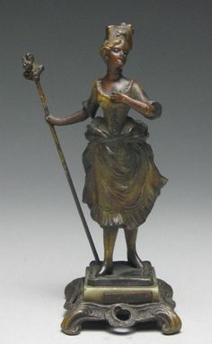 Beautiful Victorian French Lady Mounted Bronze Cold Painted Figurine L'Amie  #Victorian