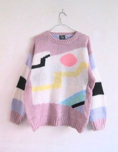 80's early 90's pastel and neon box knit sweater with colorblocking and stripes | most likely intarsia