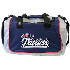 New England Patriots - Logo Nylon Duffle Bag by NFL. $46.00. The New England Patriots offer you this awesome Nylon Duffle Bag in Blue, with the famous New England Patriots Logo. The Duffle Bag comes with a heavy duty shoulder strap and top hand grip.  Great item for any New England Patriots fan.