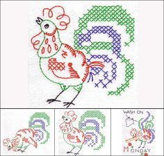 """""""Roosters Rule the Rooster DOW"""" +FREE Sample! COCK-A-DOODLE DOO! This set's for you! Particularly if you enjoy the vintage look of colorwork! This fun set offers colorwork designs that yield a hand embroidered look, with machine cross stitch added into the mix. What fun for your country  kitchen decor!"""
