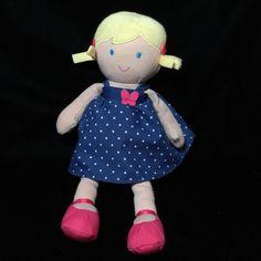 "Carters Blond Doll Blue Polka Dot Dress Heart Plush Soft Toy 2013 12"" Stuffed  #Carters"
