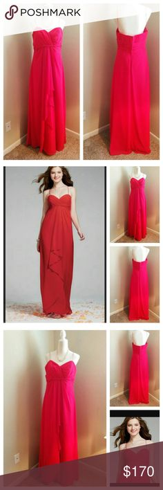 """Alfred Angelo dress sz 16 bridesmaid red New Alfred Angelo dress sz 16 red bridesmaid Layered Chiffon Approx measurements Bust 34"""" Waist 38"""" Hips 47"""" Length 66.5 Zipper 13"""" Alfred Angelo Dresses"""
