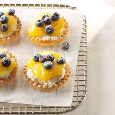 Lemon Cheesecake Tarts Recipe -To make these cute tarts even quicker, add the filling to store-bought phyllo tart shells. Mini Desserts, No Bake Summer Desserts, Lemon Desserts, Lemon Recipes, Tart Recipes, Easy Desserts, Baking Recipes, Dessert Recipes, Blueberry Recipes