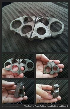 COLLECTIBLES: Path of Orion: Folding Brass Knuckle Mech Ring by Kilroy III of Kilroy's Attic - THE ETHYR - Carbon-Fibre Media: