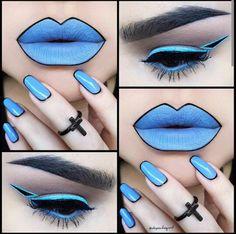 Sky blue bold lips eyes nails