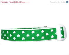 ON SALE White Clover Dog Collar 1 inch wide lucky by Apolloscloset, $10.20