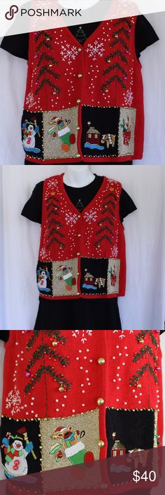 "Kitsch Jingle Bells Ugly Christmas Sweater Vest One of many cute and ugly Christmas Sweaters for your tacky event! Ugly Christmas Sweater Parties Christmas Pub Crawls Kitschy Festive Office Apparel Full of actual Jingle Bells so they can hear you coming! AWESOME Embroidery, PEARLS, GOLD buttons, GOLD and PINK Jingle Bells Appliques: Snowman, Christmas Stocking Teddy Bear, House with Reindeer, Gift  Adorably Tacky! Red, Green, White, Pink, Gold, Black, Blue, Tan Size: Petite Medium 18""…"