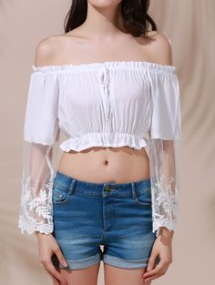 SHARE & Get it FREE | White Lace Spliced Flare Sleeve Off The Shoulder Crop Top - WhiteFor Fashion Lovers only:80,000+ Items • New Arrivals Daily Join Zaful: Get YOUR $50 NOW!