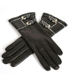 Black Leather Gloves with Stitched Cuff and Buckles-- FEATURES Lambskin leather Cashmere lined Above the wrist