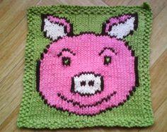 Baby washcloth knitting pattern - Knit dishcloth pattern - PDF blanket square pattern - Knit afghan square - Smiling pig