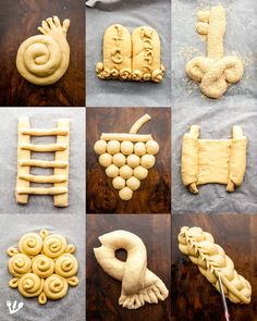 Popular challah shapes from TOP, left to right Round, spiral or coil-shaped challah for the holidays from Rosh Hashanah to Yom Kippur honouring the Yom Kippur tradition when you shake hands to ask for pardon and for Hoshannah Raba, symbolic of reaching Yom Kippur Traditions, Comida Judaica, Bread Shaping, Bread Art, Yeast Bread Recipes, Braided Bread, Jewish Recipes, Food Decoration, Food Art