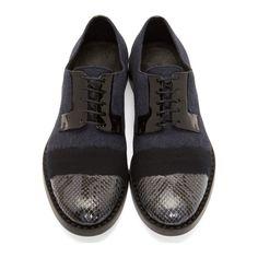 Jimmy Choo Navy Python & Felt Degrade Alaric Derby Shoes