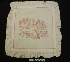 "White cotton with central scene embroidered in red [redwork] The scene is picture of a woman with a brown inscription ""I woke and found the life was a duty"" Ruffle around all sides. Photo Buttons, Search People, Online Collections, Museum Collection, White Cotton, Two By Two, Scene, Black And White, Woman"